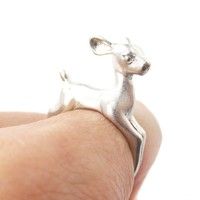 Baby Deer Doe Shaped Sleek Animal Wrap Around Ring in Silver | US Size 5 to 8