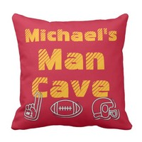 Man Cave Football Sports Team Red Gold Throw Pillow