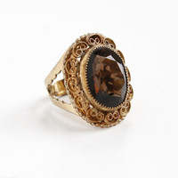 Vintage 12k Gold Filled Brown Faceted Glass Ring - Retro Adjustable Hallmarked Catamore Mid-Century Filigree Cannetille Jewelry