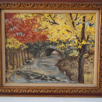 Oil Painting Dated 1954 Stone Bridge in Autumn Hunterdon County NJ, Large Framed Oil On Board Original Landscape, Signed M.Caputo