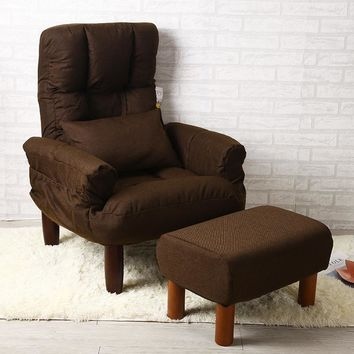 Modern Living Room Chair And Ottoman Fabric Upholstery Furniture Bedroom Lounge Reclining Armchair with Footstool Accent Chair