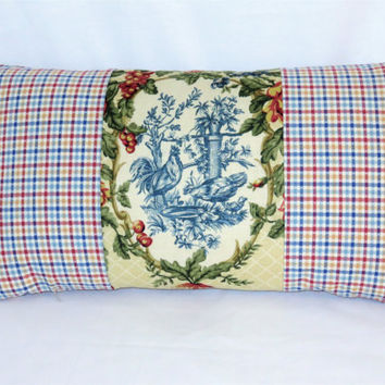 Waverly Cream Chicken Toile Pillow In Saison de Printemps, Rooster, Reversible Gingham Check, 12 x 22 rectangle lumbar, Insert  Included