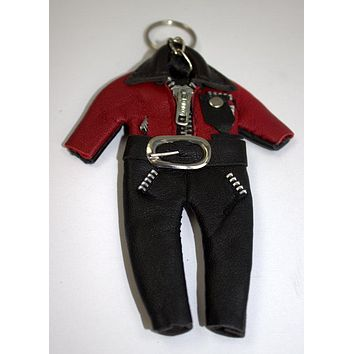 Leather key chain outfits red and black