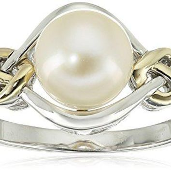 Sterling Silver and 14k Yellow Gold 8mm Freshwater Cultured Pearl Love Knot and Diamond Accent Ring, Size 9
