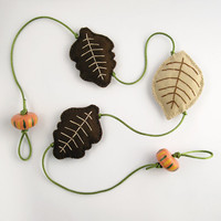 Autumn garland, fall leaves, felt leaves, home decor, rustic wall hanging, brown and green, wall garland, fall leaf garland