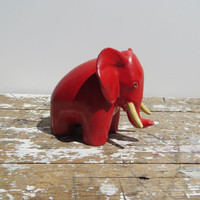Red Cast Iron Elephant J B 2955 Mid Century Modern Decor Good Luck Elephant