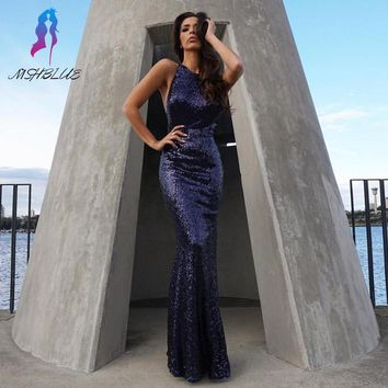 Sexy Navy Blue Sequin Mermaid Prom Dresses Long Party Evening Dress Halter Backless Floor Length Vestido De Festa