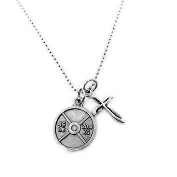 Cross & 45 lb Weight Plate Necklace