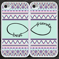 infinity iphone 4 case, friendship iphone 4s case -- Best Friends iPhone 4 Case, mint green aztec iphone case, Two Case Set