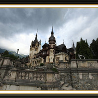 Peles Castle Fine Art Print, Romanian Castle, 1883 royal residence, Transylvania Castle, stormy day at the castle, size 8 x 12''