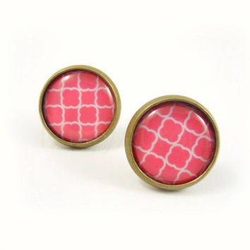 Coral Pink Earring Studs - Geometric Coral Pink Earring Posts - Coral Pink Jewelry - Geometric Pattern