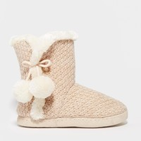 New Look Nina Knit Pom Pom Slipper Boots