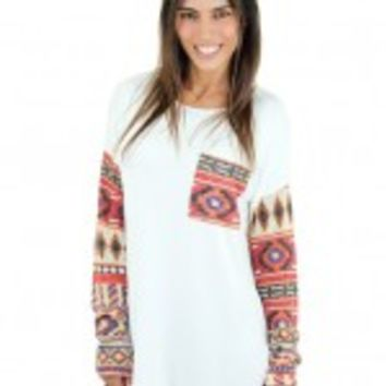 Ivory Top With Tribal Print Sleeves