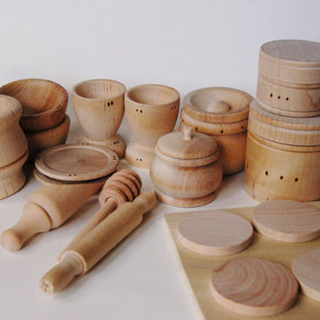 Natural Organic Wooden Toy Set - Waldorf Wood Toys- Wooden Dishes- Pretend Play Kitchen Set - Montessori Toys- Toddler Gift