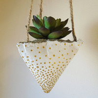 3 Hanging Concrete Succulent Pyramid Planters, Hand-Painted White with Metallic Gold Dots, Jute Twine