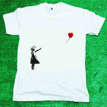 BANKSY Girl Heart Balloon - T Shirt Tee Shirt White Women/Unisex screen black and red