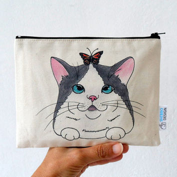 Cat  Pouch, Zipper Pouch , Cat with Butterfly ,cosmetic bag, pencil case, clutch