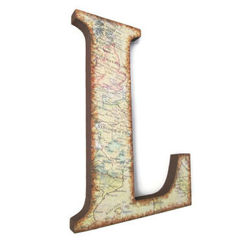 Decorative Wall Letter L with vintage European map and distressed edges, brown travel decor, rustic home decor