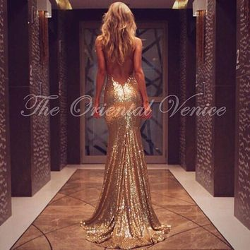 Sparkle Champagne Rose Gold Sequined Prom Dresses Sexy Spaghetti Straps Criss Cross Open Back Long Evening Dress Party Gowns