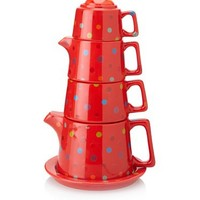 Classic Coffee & Tea Tower Tea Set, Red Polka Dot