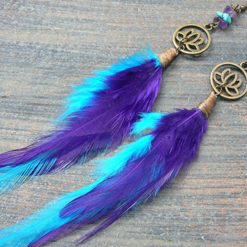 lotus feather earrings turquoise amethyst spiritual earrings yoga native american inspired tribal fusion boho belly dancer and hipster style