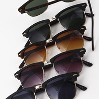 Half Framed Sunglasses with Colored Lenses - Black/Black, Black/Brown, Black/Green, Tortoise/Green or Tortoise/Yellow