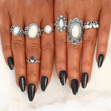 Bohemian style Antique Silver Color knuckle ring set