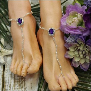 AMETHYST beaded barefoot sandals - purple