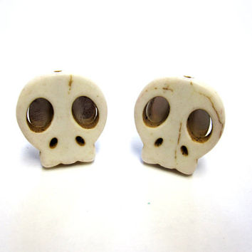 Sugar Skull Cufflinks Day Of The Dead Wedding Accessory Natural White Ivory Groomsmen Gift