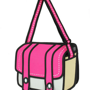 Hot 3D Jump 2D Drawing Vector Cartoon Paper Comic Backpack Bag Satchel Bookbags Unique Gift Idea = 4679605572