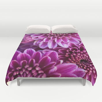Chrysanthemum Duvet Cover - Floral Bedroom Decor, Purple Pink Cream Yellow Home Decor, twin, full, queen, king, unique fine art couture