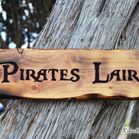 Pirates Lair Sign, Carved Wood, Pirates of the Caribbean, Pirate Decor, Father's Day Gift, Man Cave