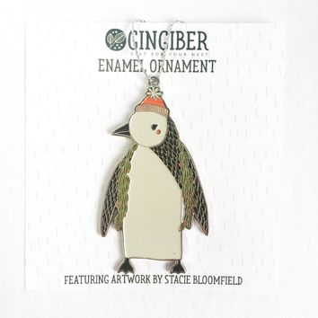 Merrily Penguin Enamel Ornament