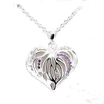Basket Hill Watches and Gifts, 925 Silver Plated, Violet Crystal Heart Necklace
