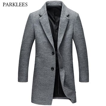 Winter Wool Mens Overcoat New Trend Mens Long Pea Coat Casual Slim Fit Single Breasted Mens Fashion Trench Outwear Manteau Homme