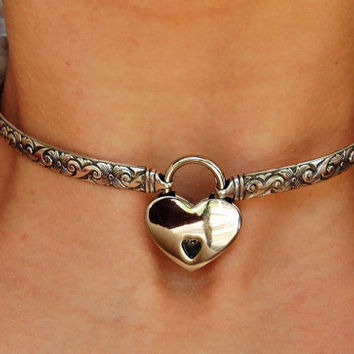 Collar of the Month! Solid 925 Sterling Silver Neck Cuff Neckwire Locking BDSM Slave Bondage  Day Collar and Sterling Silver Heart Lock