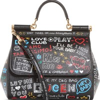 Dolce&Gabbana Medium Sicily Graffiti Print Leather Satchel | Nordstrom