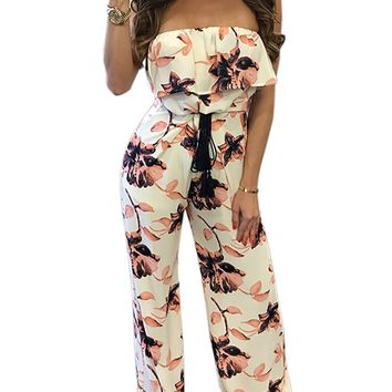 Ruffled Floral Strapless Flared Jumpsuit