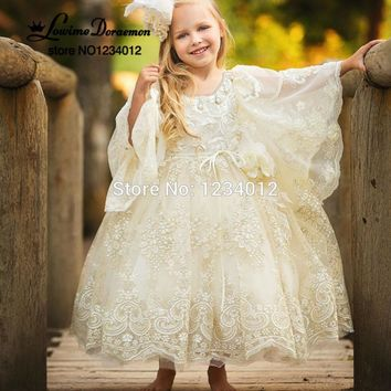 Flower Girl Dresses White/Ivory 2017 Long Sleeves Puffy Ball Gown O-neck Flare First Communion Dresses For Girls Pageant Gowns