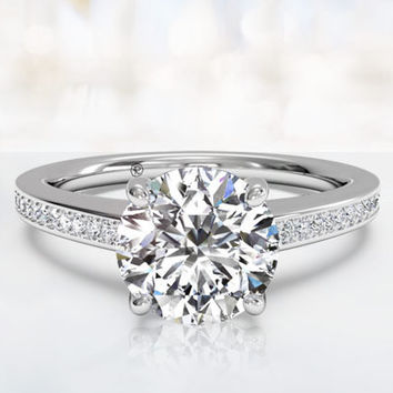 2.19ct I-VS2 Round Diamond Engagement Ring 18kt White Gold JEWELFORME BLUE GIA certified