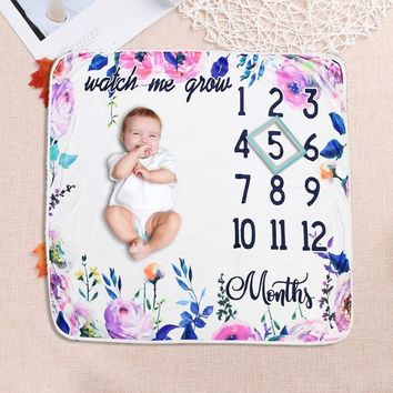 Newborn Photography Props Letters Floral Print Blanket Bathing Towels Baby Photo Prop Cute Quilt Carpet for Baby Photo Shooting