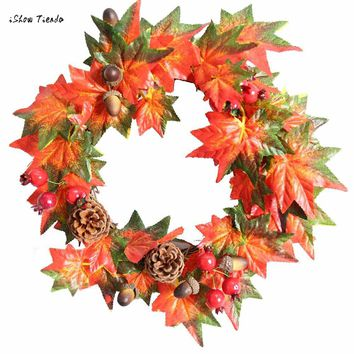 ISHOWTIENDA New 1PC Pine Fruit Maple Leaf Fall Door Wreath Door Wall Ornament Thanksgiving DayFree Shipping