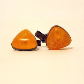 Vintage Amber Cufflinks, Cufflinks, Baltic Amber Cufflinks, Yellow Cufflinks, Mens Jewelry, USSR, Cuff Links, triangular Cufflinks