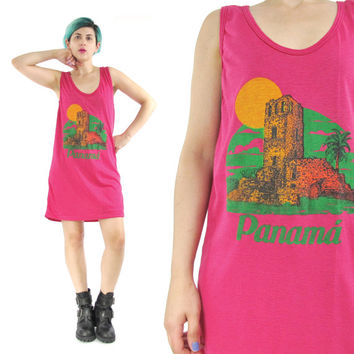 80s Beach Tank Dress Panama Tourist Tshirt Dress Bright Pink Tank Top Vintage Graphic Tank Top Hipster Sleeveless Summer Tank Dress (M)