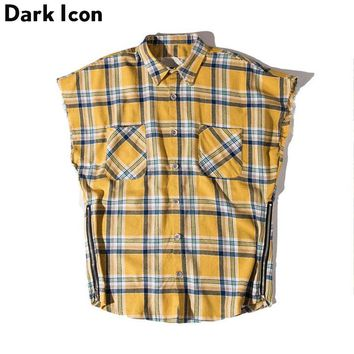 Side Zipper Plaid Flannel Shirt Men Sleeveless Summer Oversize Hip Hop Shirts Shirt Men Clothes