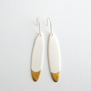 N o a - Long dainty earrings - White & gold - Porcelain jewelry - 14K Goldfilled earwires - Calliope Collection