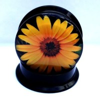 PAIR-VERY PRETTY SUNFLOWER SCREW BACK Ear Gauges- Acrylic Ear Gauges-PLUGS