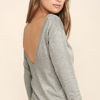 Me Too Heather Grey Backless Sweater Top