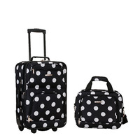 Rockland Rio 2-Piece Carry-On Luggage Set Black Polka Dot Soft Tolietries Bag