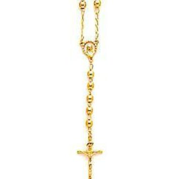 """Gold Beads  18K GOLD PLATED 24""""L ROSARY"""